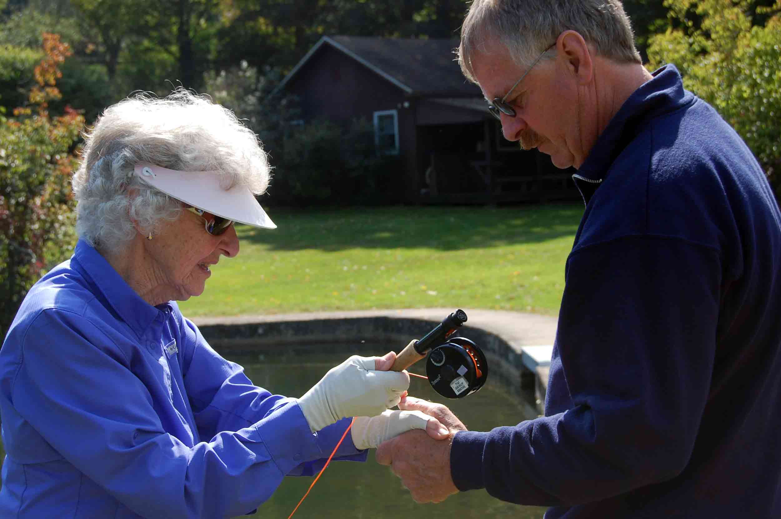Joan Wulff fly casting with student, photo by Mike Hosier